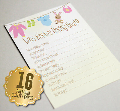 'Who Knows Daddy Best' Baby Shower Game Cards - 16 A6 Party Game Guest Cards