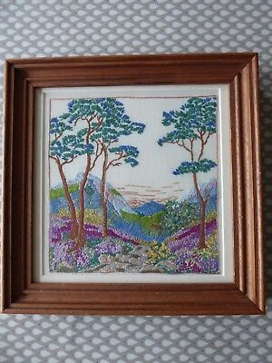 Vintage Hand Embroidered Picture- Stunning Scottish Hillside With Purple Heather