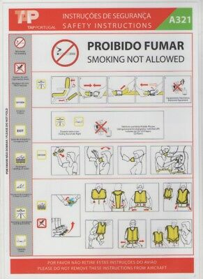 TAP  PORTUGAL    Airbus  A321   Safety Card   (MOD56176- COD22481 -AGOSTO 2005 )