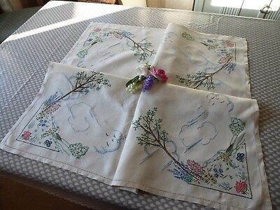 Vintage Hand Embroidered  Linen Tablecloth- Beautiful Hillside  & Gardens