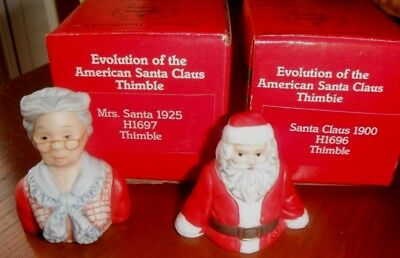 1986 Bisque Thimbles '86 Evolution Of The American Santa Claus +Mrs. Claus C1900