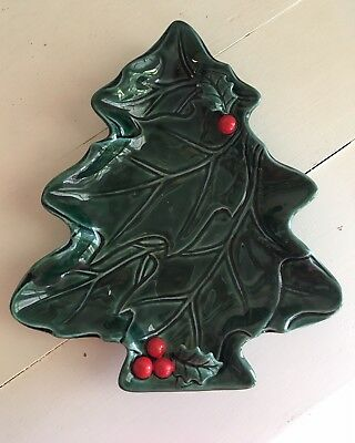 Vintange 1971 Lefton Green Holly Red Berry Christmas Tree 6022 Christmas MI