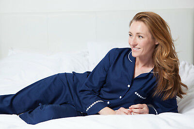 Ladies Navy Blue Classic Pyjama Set 'Adele' Nora Rose (1294) - SIZE 8 10 22