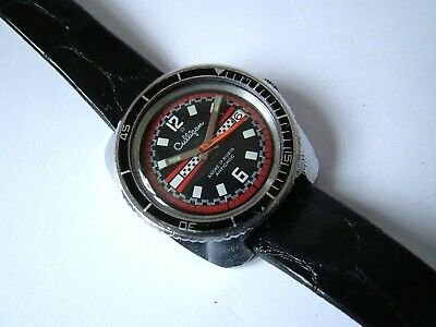 Vintage CULLINGAN men's watch, Old SWISS made mechanical DIVER, 1960 years, rare