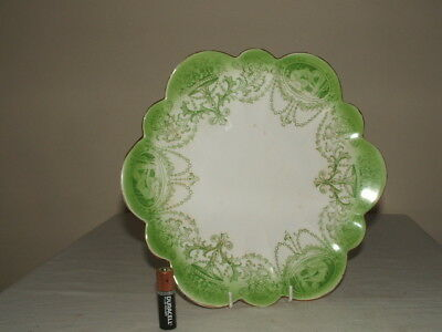Shelley/ Wileman Snowdrop Green Cameo Cake Plate Truly Stunning