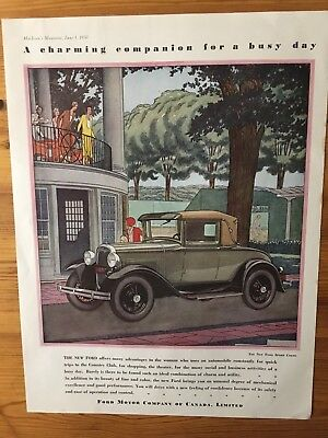 Rare 1930 Canadian Car Ad Ford Model A Sport Coupe Art Deco Canada