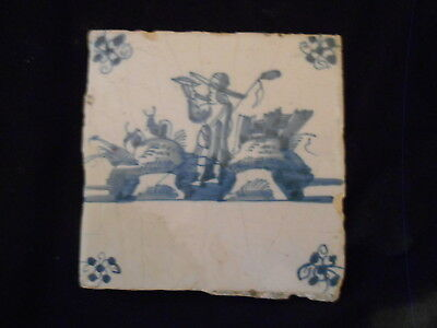 Delft Tile of Shepherd Blowing Horn 1780-1820 Dutch