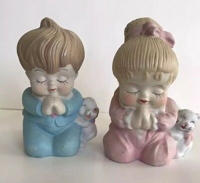 Antique Praying Boy And Girl Piggy Banks