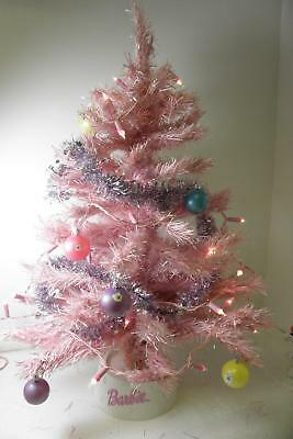 """Barbie Pink Sparkly Christmas Tree with decorations and lights - 30"""" high approx"""