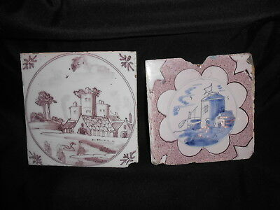 (2) Dutch Delft Tiles Architecture Manganese Decorated As Is 1780-1820