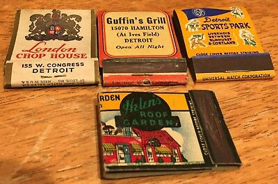 Vtg Matchbook Covers. (4) Detroit, Mich. Sports & Lounges. Free Shipping.