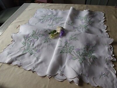 Vintage Hand Embroidered Tablecloth=Beautiful Floral Bouquets Scottish Thistles