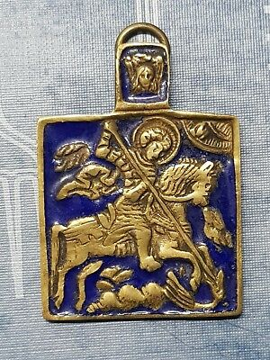 Antique Bronze Enamel Icon Pendant of Saint George and the Dragon