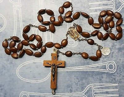 Antique - Vintage Brown tree pits Relic Rosary -wood crucifix  Banneux Belgium