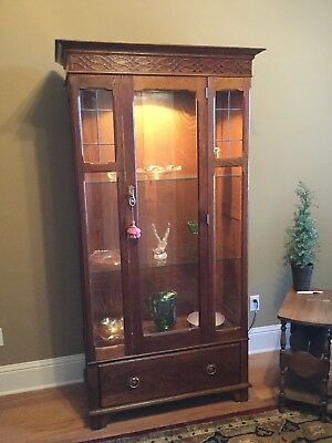 Antique Oak Lighted Glass Front Display Cabinet