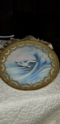 Seagulls and Ocean Waves Gold Trimmed Nippon wall plaque 11-13 inches 1891 BS