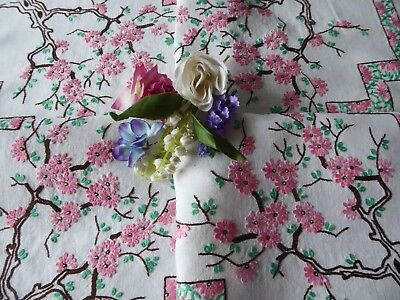 Vintage Embroidered Linen Tablecloth=Beautiful  Pink Apple Blossom