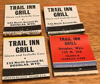 Vtg Matchbook Covers. (4) Douglas, Wyoming. Trail Inn Grill Free Shipping.