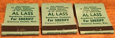 Vtg Matchbook Covers. 3 Converse County, Wyoming. Al Lass For Sheriff Free Ship