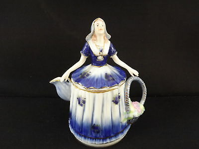 Vintage Collectible Limoges China Tea Pot Blue Dress Lady