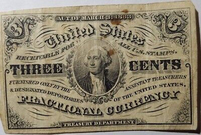 1863 US Fractional, 3 cents, 3rd Issue