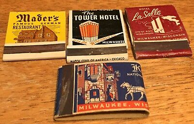 Vtg Matchbook Covers. 4 Milwaukee, Wisconsin. Free Shipping