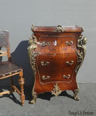 Vintage French Louis XV Bombe Bombay Ornate Brass Ormolu Chest Commode w Marble