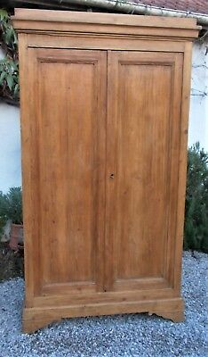 antique pine wardrobe,stripped pine French armoire,19th c. hanging cupboard