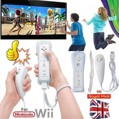 UK 2 Sets WHITE REMOTE CONTROLLER + NUNCHUCK FOR NINTENDO WII +SILICONE+STRAP