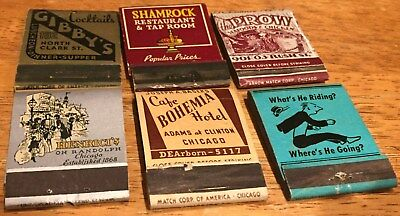 Vtg Matchbook Covers. 6 Chicago, Illinois. Free Shipping