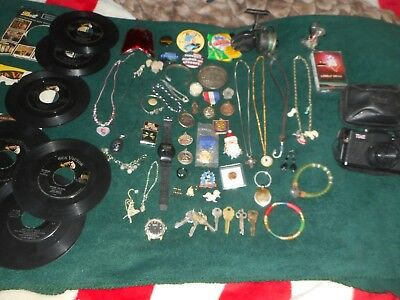Junk Drawer Lot 925 Sterling Gold Tone Jewelry Tokens Coins Rare Watches Knife