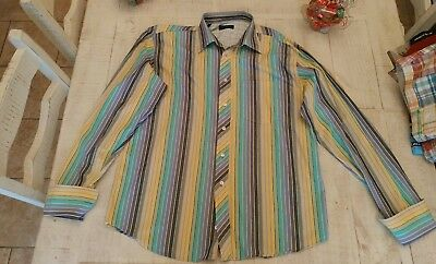 902a341ae TED BAKER MEN S Dress Shirt 100% Cotton Multi-Color Size 16.5 Long ...