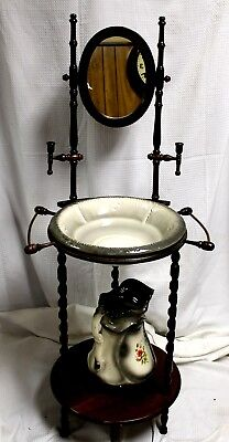 Vintage American Jacobean Revival Cherry Wash Stand with Mirror, Pitcher & Bowl