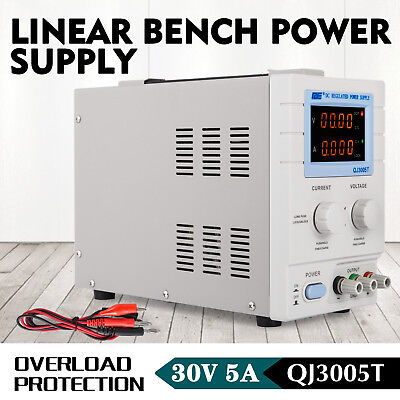 New Variable Linear DC Power Supply 0 - 30V&0 - 5A w/ Alligator Cable