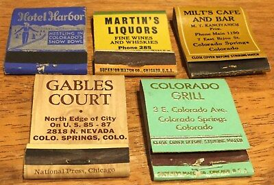 Vtg Matchbook Covers. 5 Steamboat & Colorado Springs, Colorado. Free Shipping