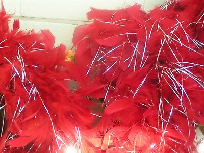 Two Red Lurex Feather Boas. 20s Gatsby Flapper Fancy Dress Burlesque Hen Party