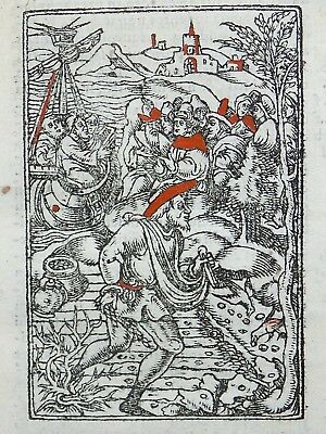 1541 Pierre REGNAULT - Fine rubricated woodcut leaf - Parable of the Sower