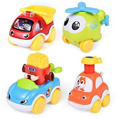 4 Pcs Kids Car Toys Pull Back Cars For Toddler Push & Go Friction Powered Toy Pr