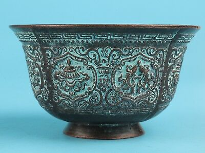 Precious Chinese Bronze Tea Bowl Handmade Decorative Patterns Collection Gifts