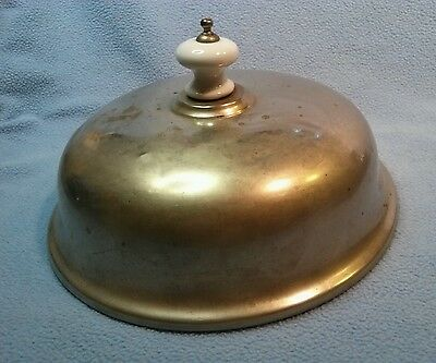 Vintage Silverplated Plate Cover with White Porcelain Knob