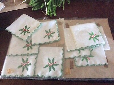 11 Vintage Cocktail Christmas Napkins New In Package