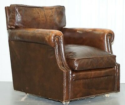 Vintage 1920's Coil Sprung Aged Brown Leather Club Armchair On Castors Rare Find