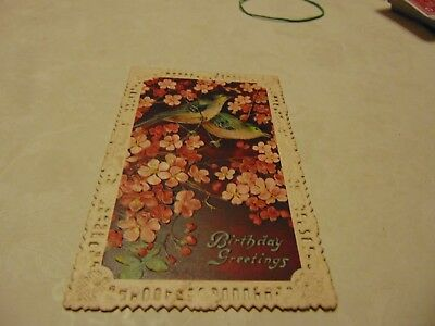 Postcard. Birthday Embossed. Birds And Flowers  Post Mark 1911
