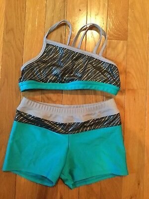 SWEET SODYPOP Dance Gymnastics Outfit Shorts and Bra Top Child size Large