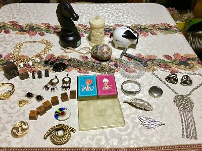 Antique Vintage Collectible Lot Banks Jewelry Cards Pins Butterfly Egg ETC