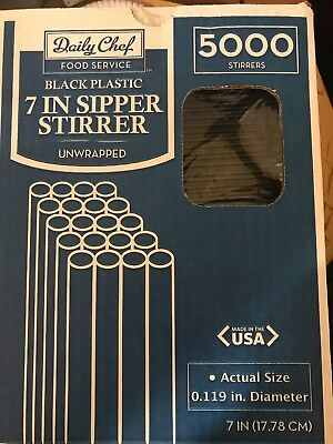 """Daily Chef Plastic Food Service Sipper Stirrers - 7"""" - 5,000 ct Coffee Tea ~NEW"""