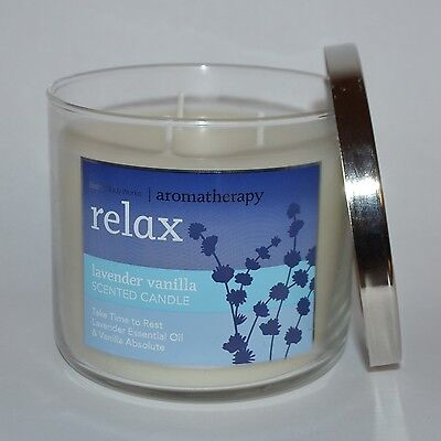 Bath & Body Works Aromatherapy Relax Lavender Vanilla Candle 3 Wick 14.5Oz Large