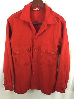 Boy Scouts of America Official Jacket BSA Red 100% Wool Shirt  Adult 42 Vintage