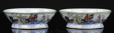 "Pair of Antique Chinese Tongzhi Mark and Period Famille Rose ""Rooster"" Bowls"