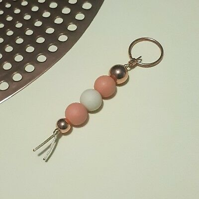 Silicone Bead Keyring Rose Gold Acrylic Accents Keychain Bag Tag Beaded Gift